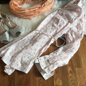 EUC Liz Lange Pink-White Maternity Buttoned Blouse